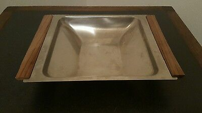 KALMAR Danish Mid Century Modern Stainless Steel Bowl/Tray with wood handles