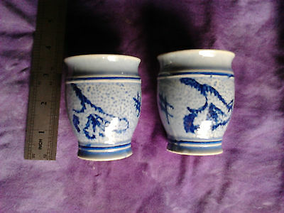 2 x small pottery tea cups collectable vase