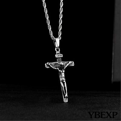 "20"" Mens Stainless Steel Silver Cuban Jesus Cross Pendant Necklace Twist Chain"