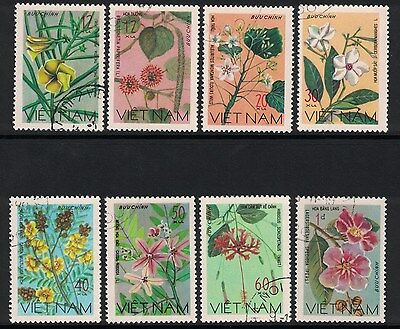 Vietnam- Wildflowers, 1977- Complete Set of 8 Topical Flower Stamps- Hibiscus