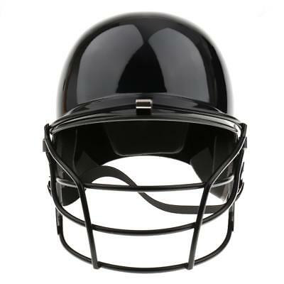Adults Molded Baseball Batting Helmet with Metal Face Guard Black