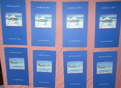 8 Twa Airlines Ambassador Collector Series Boeing Stratoliner Airplane Menu Lot