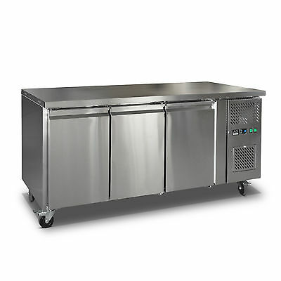 Commercial 3 Door Fridge Work bench Counter Or Under Bench Stainless Steel