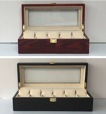 Wooden Watch Box Case Display Wood Jewellery Red or Matte Black Glass Top