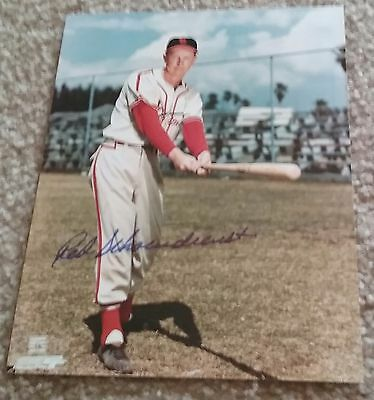CARDINALS RED SCHOENDIENST AUTOGRAPHED SIGNED 8x10 BASEBALL PHOTO COA JSA PSA