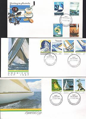 Australia 3x Yachting FDC inc America's Cup 1987 see scans x2