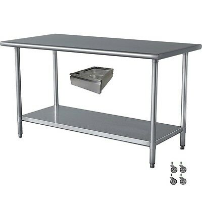 COMMERCIAL STAINLESS Steel Work Table X With Drawer And - Stainless steel commercial work table 30 x 72