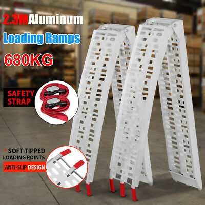 2 x 2.3M Folding Aluminum ATV Loading Ramp Lawnmower Motorcycle Truck NEW
