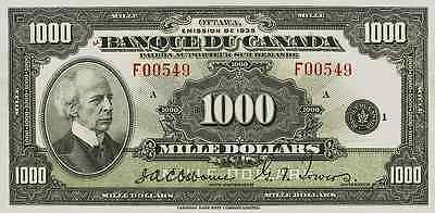Canada 1-1000 Dollars 1935 FRENCH Series Complete Set Reproduce