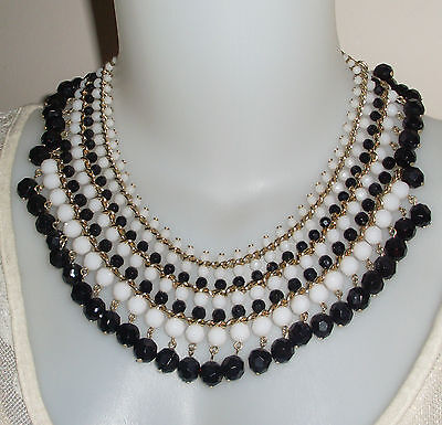 Gorgeous Lorisa Vintage Sparkling Black And White Beads Necklace!!
