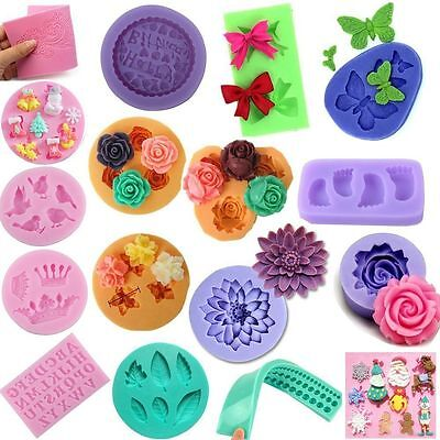 3D Silicone Fondant Embossing Mold Mould Sugarcraft Cookie Cutter Cake Decor