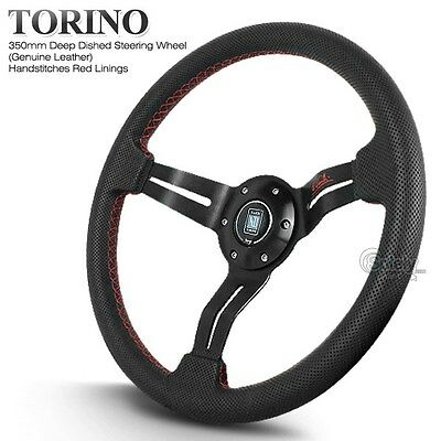 350mm Nardi Deep Corn Black Leather Red Stitches Steering Wheel with Horn
