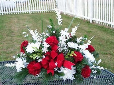 Red White Valentines Day Cemetery Silk Flower Grave Headstone Sympathy Saddle