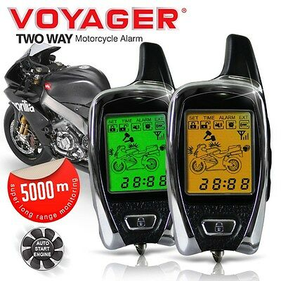 New VOYAGER 5000M 2 Way Pager LCD Remote Start Motorcycle Superbike Alarm System