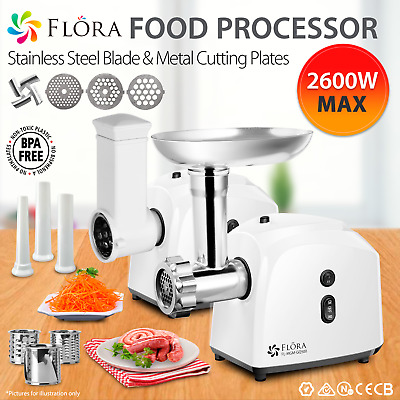 Flora Electric Stainless Steel Meat Grinder Mincer Sausage & Kibbe Maker
