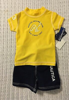 New/Tags 18 Month Nautica Baby Boy's 2-Piece UV Protected Swim Outfit