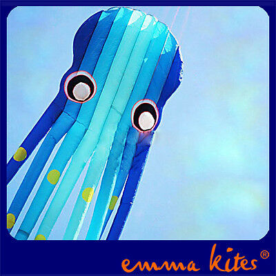 23m Giant 3D Tube-Shaped Octopus Soft Kite Gradient Blue Parafoil for Wind Game