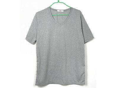 Fashion Mens Round V Neck Short Sleeve Casual Slim Fit Ribbed Tee T Shirt Tops