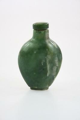 Chinese Vintage Handcarved Spinach Green Jade Snuff Bottle