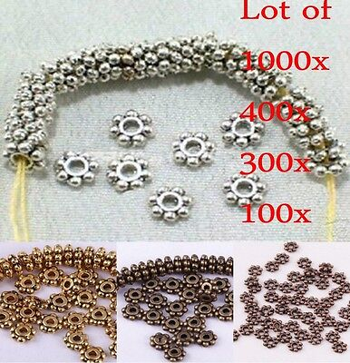Wholesale 1000 Pcs Tibetan Silver 4mm Daisy Spacer Beads Bead Jewellery Findings