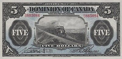 Dominion of Canada 5 Dollars 1912 P30 Reproduce