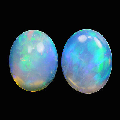 1.94Cts 2Pcs Natural Welo Ethiopian White Opal Fire Play Oval Cabochon Gemstone