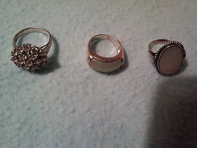Job Lot Of 3 Rings. Silver Stamped 925. 1 With Jade 1 Mother Of Pearl 1 Cluster.
