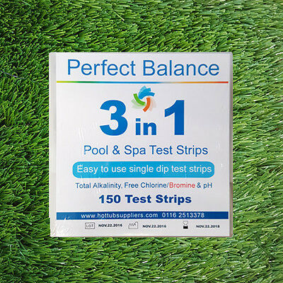 3 Way Chlorine & Bromine Testing Strips Kit For Pools Spas 150 Pack | Free P&P