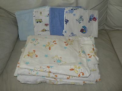 Blue Baby Boy Cot Bedding Fitted Flat Sheets Pillow Case Blankets Mat Cover