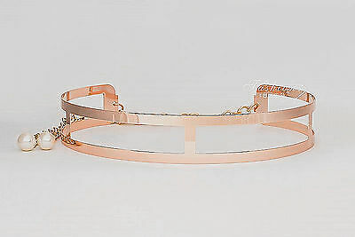 New Lady Women Gold Metallic Metal Wide Mirror Bling Waist band Metal Belt