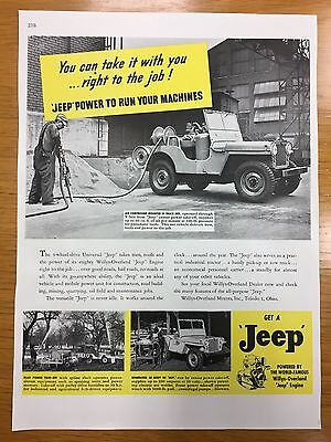 1946 Willys Overland JEEP Colour A4 Car Advert L1