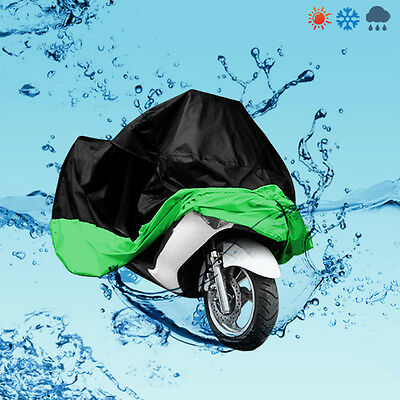Motorcycle Scooter Bike Outdoor UV Dust Protector Rain Cover With Bag XL Green