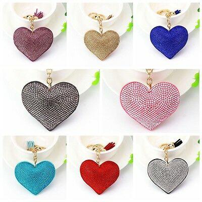 Crystal Rhinestone Heart Shape Keychain Keyring Pendant Bag Key Chain Ring