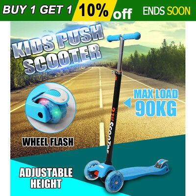 New Kids Push Scooter 3 Wheels Flashing Adjustable Height Light Weight Toy Blue