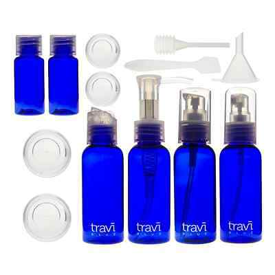 Air Travel Bottle Set Blue Hand Luggage Liquids Security Approved Bag Included