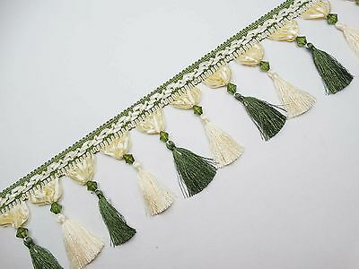 "Green Trim Fringe 4."" Curtain Lace Tassel Upholstery Ribbon By The Yard"""