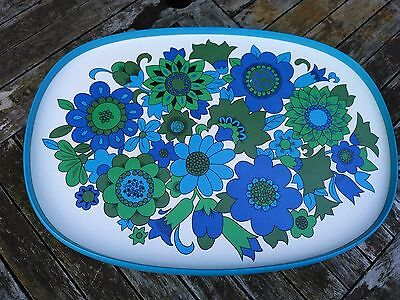 1970s M&S melamine blue and green floral drinks tray retro kitsch homeware