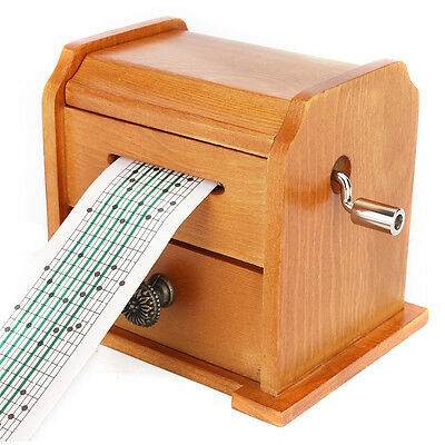 New Wood Hand Crank DIY Compose Music Box + Puncher + 30 Tape Strips With Drawer