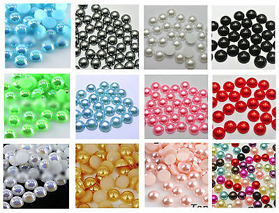 Pearl Flat Back Gems 8mm x 20 - Craft Embellishments Choice of Assorted Shades