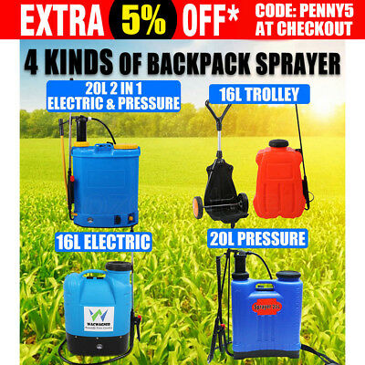 16L Electric Trolley 20L Pressure Backpack Sprayer Garden Weed Killer Chemical
