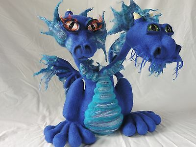 Two Headed Dragon, needle felted large wool sculpture Ooak poseable art doll