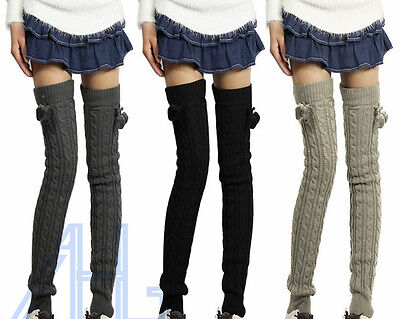 Winter Women's Crochet Knit Leg Warmers Long Wool Over Knee Legging Socks Boots