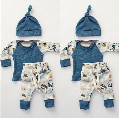 3pcs Newborn Baby Boys Girls Romper Jumpsuit T-Shirt + Pants Clothes Outfits Set