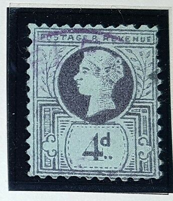 QUEEN VICTORIA 4d purple and blue unchecked used stamp (No1193)