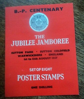 Boy Scout Stamps + Original Folder  World Jamboree 1957 Sutton Coldfield England