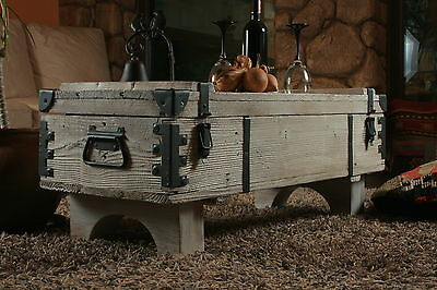 Old Chest Box Table shabby chic Wood Side table Wooden chest Coffee table 16B