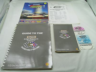 British Motorcycle Grand Prix 1986 Silverstone Orig Press Pack Pass Guide Etc