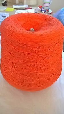 LOT 10 Orange 1ply 100% acrylic   844g Hand or Machine Knitting Yarn on Cone
