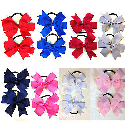 2 x Girls Hair Bow Clip Or Bobble Elastic Band Set School Party Flower Girl Set