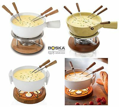 Boska Ceramic Cheese Fondue Set, 6 Person or 4 Person in Cream or White